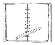 Notitieboekje en potlood uitstekende leuke getrokken hand Royalty-vrije Stock Foto's