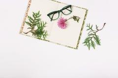 Notitieboekje, glazen en bloem Vlak leg Witte achtergrond De ruimte van het exemplaar Royalty-vrije Stock Fotografie