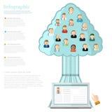 notitieboekje met boom van sociale netwerken met ionen van verschillende mensen Royalty-vrije Stock Afbeeldingen