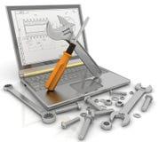 Notitieboekje met de hulpmiddelen en de bevestigingsmiddelen van details voor reparatie stock illustratie