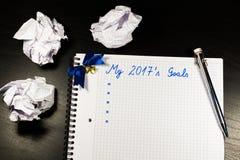 Notitieboekje met doelstellingen van jaar 2017 Stock Foto's