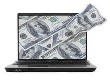 Notitieboekje met dollarachtergrond Stock Foto's