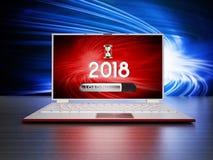 Notitieboekje met 2018 en ladingsteksten op het scherm 3D Illustratie Stock Foto