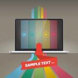 Notitieboekje met kleurenstrepen en pictogrammen stock illustratie