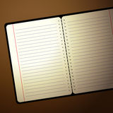 Notitieboekje met lamplicht Royalty-vrije Stock Afbeeldingen