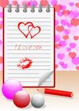 Notitieboekje met liefdebericht. vector eps10. Stock Foto's