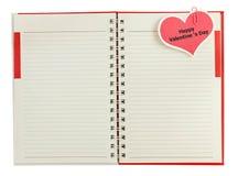 Notitieboekje open met de dag van de markeringsvalentijnskaart Royalty-vrije Stock Fotografie