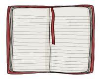 Notitieboekje rode dekking het schilderen wijnoogst Stock Fotografie