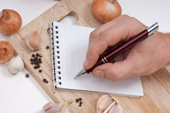 Notitieboekje voor culinaire recepten Stock Foto's