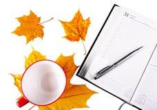 Notitieboekje zilveren pen Stock Foto's