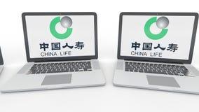 Notitieboekjes met de Verzekeringsmaatschappijembleem van China Life op het scherm Computertechnologie conceptuele redactie4k kle vector illustratie