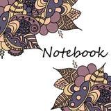 Notitieboekjes, overdrukplaatjes, agenda, kaarten, schooltoebehoren stock illustratie