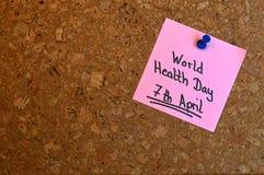 Notiz: Weltgesundheits-Tag Stockbild