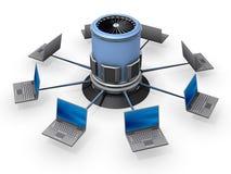 Notizbücher angeschlossen an Server Lizenzfreie Stockfotos