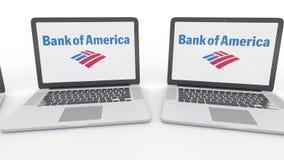 Notizbücher mit Bank of Amerika-Logo auf dem Schirm Klipp des Computertechnologiebegriffsleitartikels 4K, nahtlose Schleife stock video