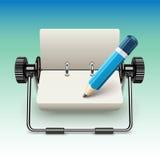Notizblock auf Stand mit Bleistift Stockbild