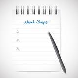 Notizblock-Illustrationsdesign der nächsten Schritte Lizenzfreies Stockbild