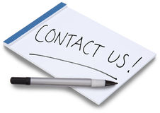 Notizblock mit handgeschriebenem bringen uns in Kontakt Lizenzfreie Stockfotos