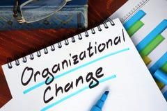 Notizblock mit organisatorischer Änderung Stockbilder