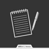 Notizblock mit Stiftikone für Netz und Mobile Stockbild