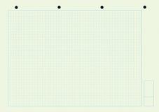 Notizblock - Papier mit quadratischem Muster und Löchern Stockbild