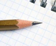 Notizblock- und Bleistiftmakro Lizenzfreie Stockbilder