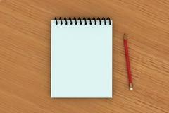 Notizblock und ein roter Bleistift auf w lizenzfreie abbildung