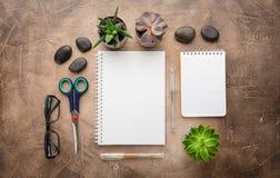Notizblock und Succulents auf dem Tisch Das Geschäftskonzept Beschneidungspfad eingeschlossen Kopieren Sie Platz stockfoto
