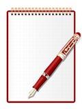 Notizblock- und Tintenfeder. Lizenzfreie Stockfotografie