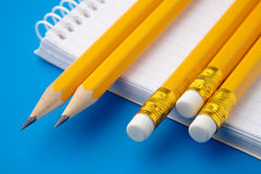 Notizblock und wenige Bleistifte Stockbilder