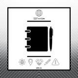 Notizbuch, Adresse, Telefonbuch mit Stiftsymbolikone Stockbild