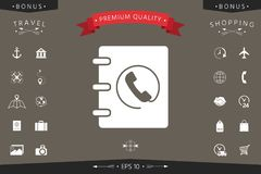 Notizbuch, Adresse, Telefonbuchikone mit Hörersymbol Lizenzfreie Stockbilder