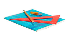 Notizbuch, Bleistift, Radiergummi und Tabellierprogramm lizenzfreie stockfotografie