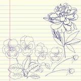 Notizbuch eingestellt mit Pfingstrose und Stiefmütterchen vektor abbildung