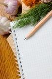 Notizbuch für kulinarische Rezepte Lizenzfreies Stockbild