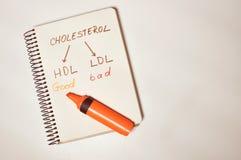 Notizbuch geschrieben, durch gehabt mit dem Konzeptmitteilung Cholesterin gutes HDL und schlechtes LDL lizenzfreies stockfoto