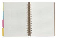 Notizbuch lokalisiert auf dem weißen Hintergrund. Stockfoto