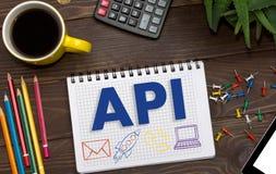 Notizbuch mit Anmerkungen API über den Bürotisch mit Werkzeugen Concep Lizenzfreie Stockbilder