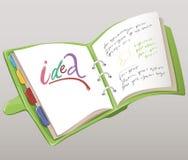 Notizbuch mit Aufzeichnungen in ihm vektor abbildung