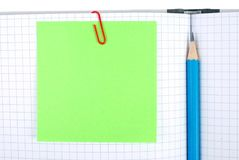 Notizbuch mit Bleistift und Bookmarks Stockbilder