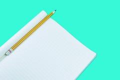 Notizbuch mit Bleistiftisolat auf grünem Hintergrund Stockbild