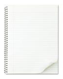 Notizbuch mit der netten Seitenrotation getrennt auf Whit Stockfotos
