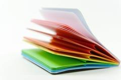 Notizbuch mit farbigen Blättern Stockfotografie