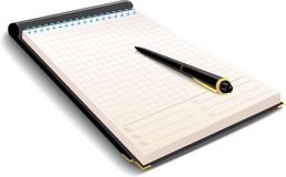 Notizbuch mit Feder Lizenzfreies Stockbild