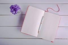 Notizbuch mit Feder auf weißem Hintergrund Stockbild