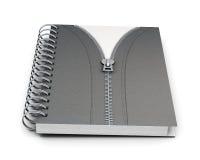 Notizbuch mit festem Einband und Reißverschluss auf weißem Hintergrund 3 Stockbilder