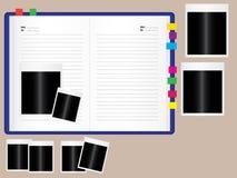 Notizbuch mit Fotofeld Stockfoto