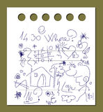 Notizbuch mit Gekritzeln Stockfoto