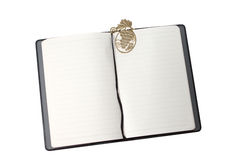 Notizbuch mit Goldbookmark Stockfoto