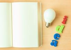 Notizbuch mit Ideenkonzept Stockfotos